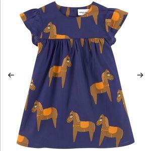 Mini Rodini Horse Woven Frill Dress Navy 🐴